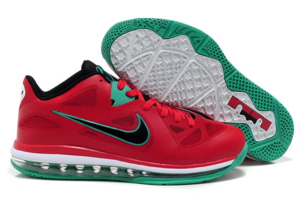 Nike Air Max LeBron James bas du 9 Rouge/Noir/Vert Chaussures de basket-ball