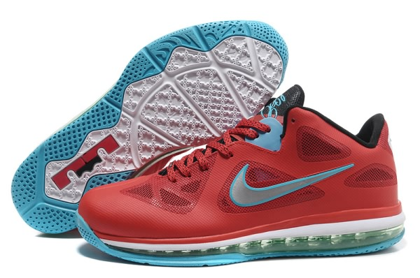 Nike Air Max LeBron James bas du 9 Chaussures de basket-ball Rouge/Noir/Argent