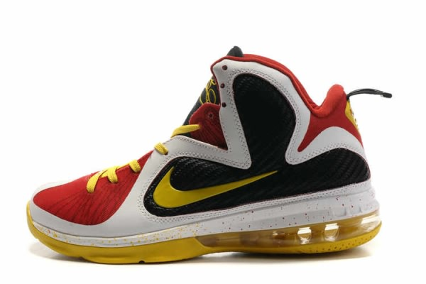 Nike Air Max LeBron James MVP 9 Chaussures de basket-ball Blanc/Noir/Rouge/Jaune