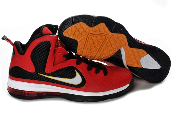 Nike Air Max LeBron James James LeBron 9 Rouge Noir Jaune Chaussures de basket 175057