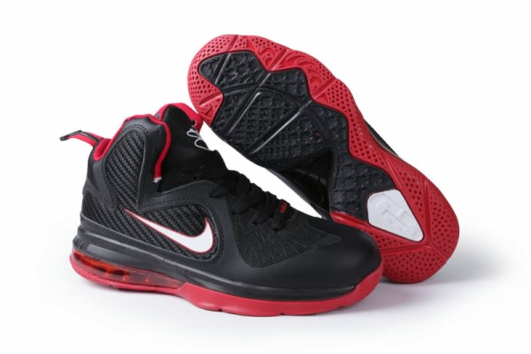 Chaussures de basket-ball Nike Air Max LeBron James 9 femmes Noir/Rouge
