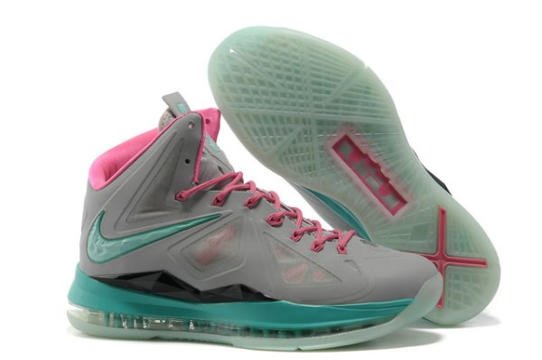 Nike Air Max LeBron James X 10 Nuit clair gray/Lune/Chaussures de basket-Rose