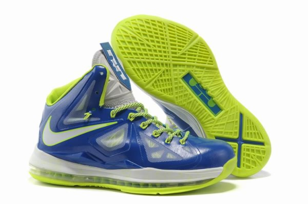 Nike Air Max LeBron James X 10 Bleu Royal/fluorescence verte Chaussures de basket-ball