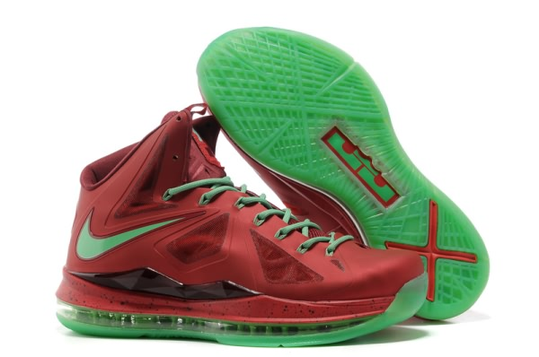 Nike Air Max LeBron James X rouge/vert Chaussures de basket-ball