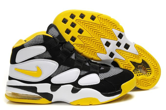 Nike Air Max Uptempo 2 Duke Sneakers de basket-ball en blanc/noir/jaune