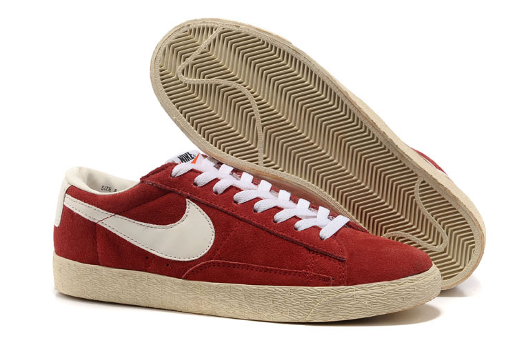 Nike Blazer Suede Vintage Bas Chaussure In Profond Rouge