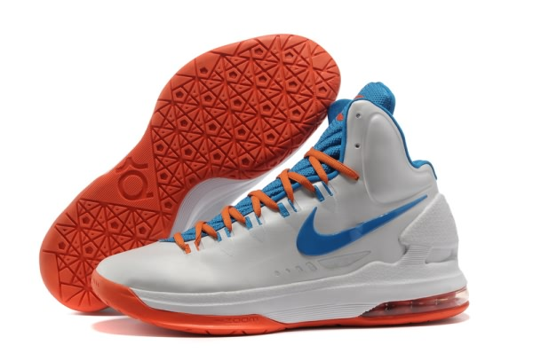 Chaussures Basket-ball Nike Zoom Kevin Durant KD V Blanc/Lune/Orange