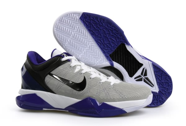 Nike Zoom Kobe VII Chaussures de Basket-ball Low Blanc/Noir/gray