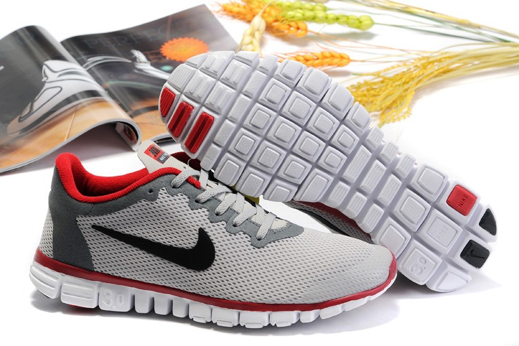 Nike Free 3.0 Hommes gray clair Rouge