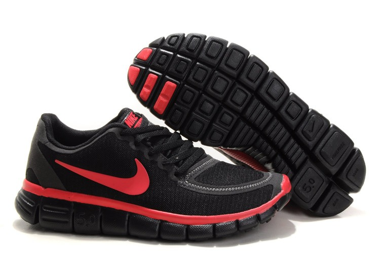 Nike Free 5.0 V4 Chaussures Couple Noir Rouge