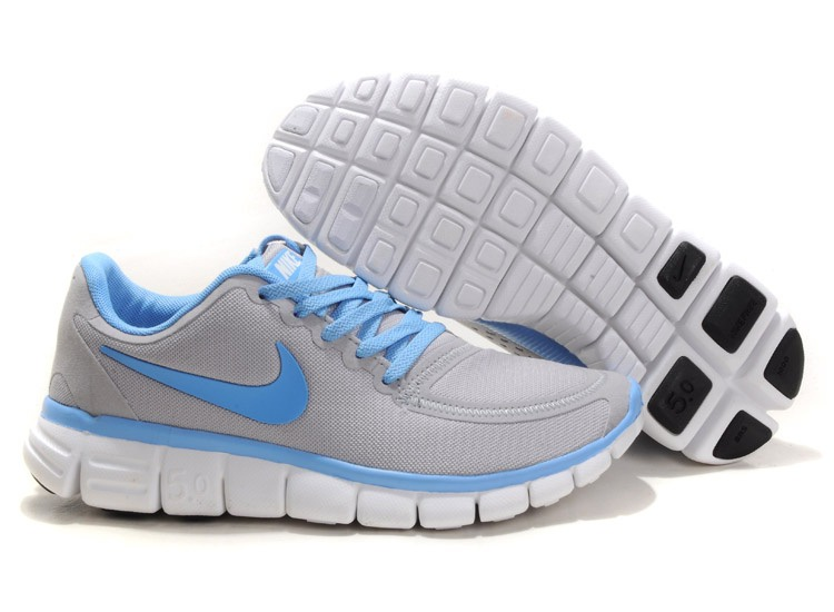Nike Free 5.0 V4 Chaussures Couple gray Bleu