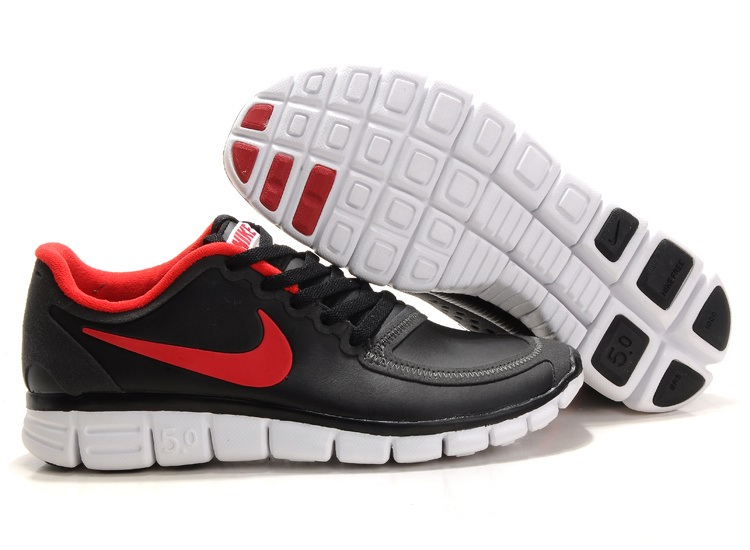 Nike Free 5.0 V4 Hommes Noir Chaussures Rouge Blanc