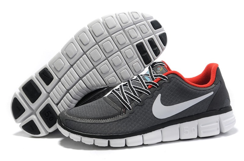 Nike Free 5.0 V4 Hommes gray Blanc Rouge Noir Chaussures