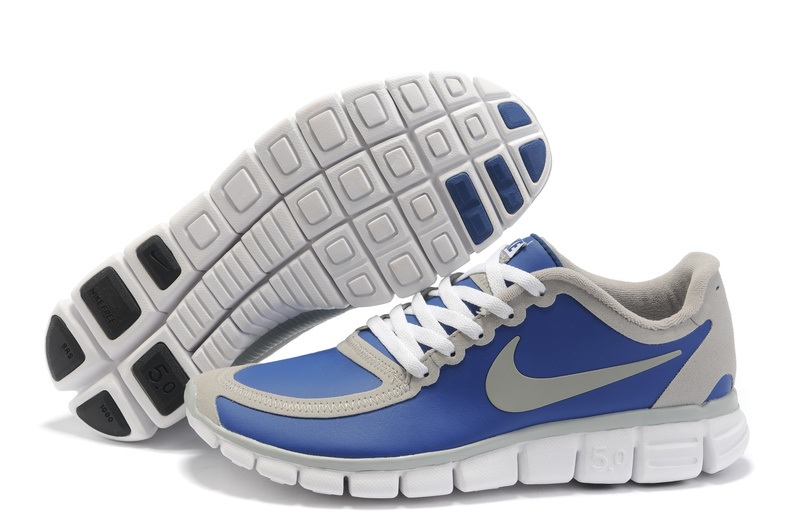 Nike Free 5.0 V4 Hommes Chaussures de course Bleu gray Blanc