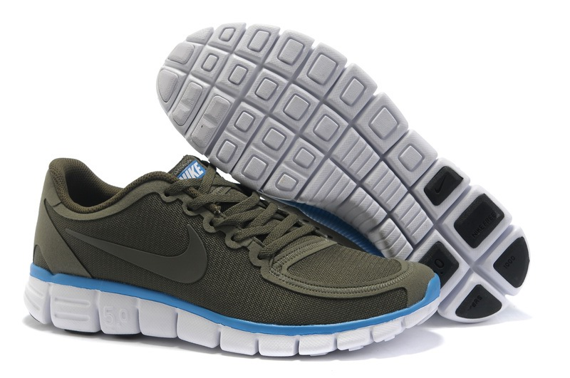 Nike Free 5.0 V4 Hommes gray Chaussures de course Bleu