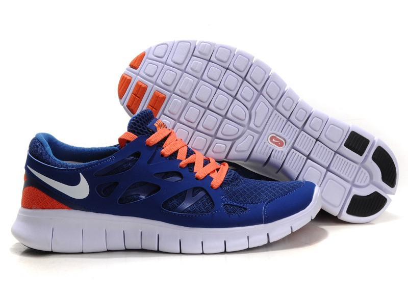 Nike Free Run 2.0 Hommes Deep Bleu orange