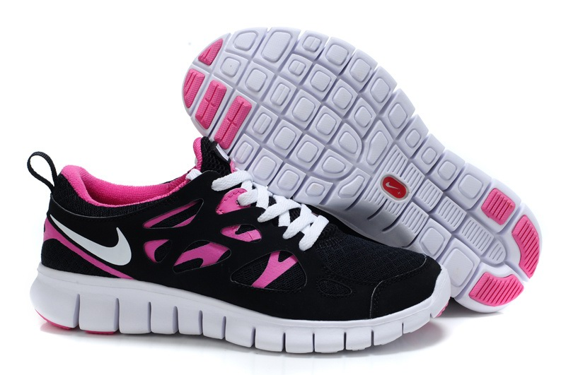 Nike Free Run 2.0 Femmes Noir Rose blanc Flash