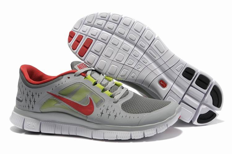 Nike Free Run 3 Hommes Chaussures Rouge gray