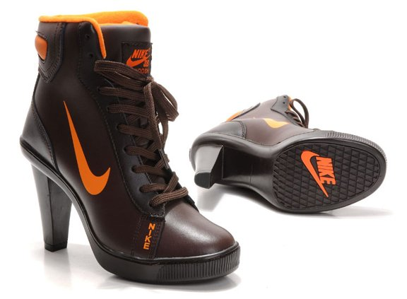 Nike 2012 Heels Dunk High Femme Chaussure Boots Brown Orange pas cher