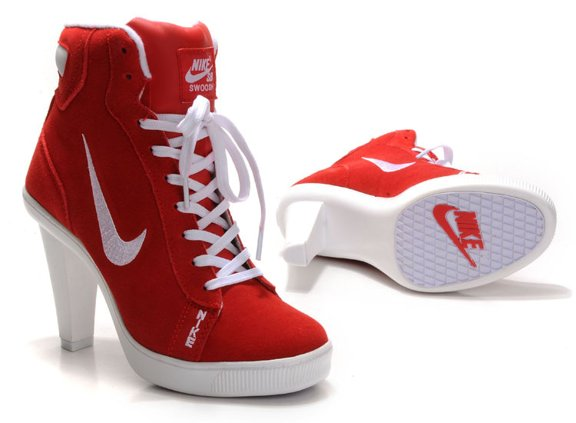 Nike 2012 Heels Dunk High Femme Chaussure Red blanc