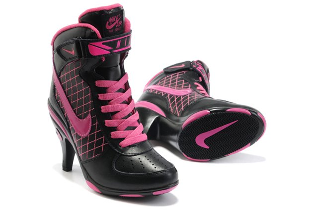Nike Air Force 1 Heels Ankle Boots Noir Pink Sexy Charming