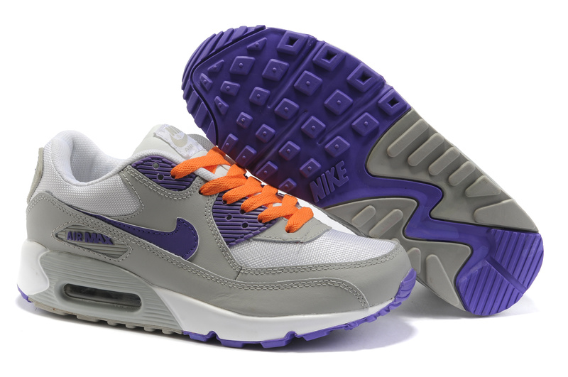 Nike Air Max 90 Femme Chaussure Gros Purple Gray Orange