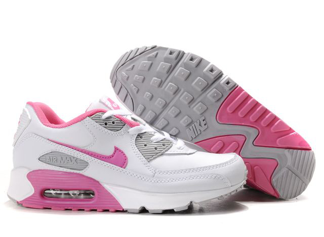 new products aa06f 67eca Nike Air Max 90 Femme Chaussure Gros blanc Pink Gray