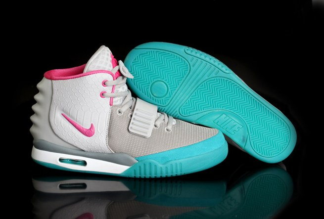 Shopping en ligne Nike Air Yeezy 2 Femme Chaussure Grey blanc Green