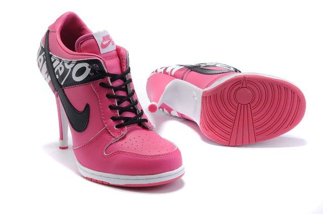 WMNS Nike Dunk Heels Chaussure Low Pink Noir Charming