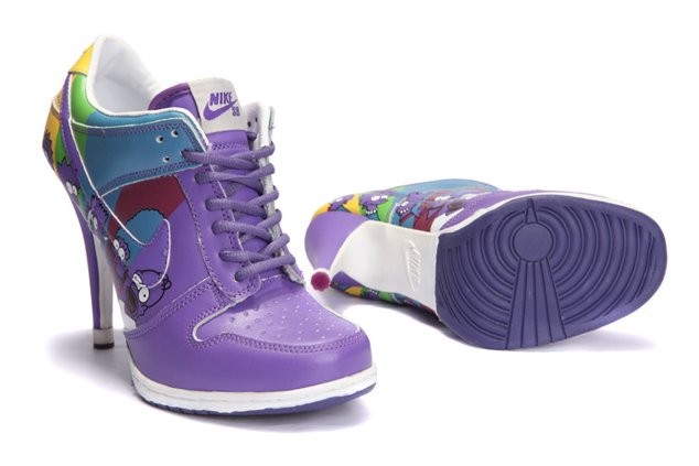 WMNS Nike Dunk Heels Chaussure Low Purple Green Bleu