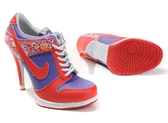 WMNS Nike Dunk Heels Chaussure Low Red Purple Silver
