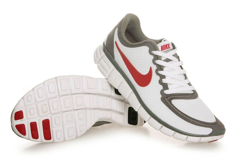 Femmes Chaussures Nike Free 5.0 V4 Blanc Rouge gray